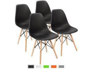 Devoko Modern Style Dining Chairs Mid Century Pre Assembled DSW Chair Classic Shell Lounge Plastic Side Chairs for Dining Room, Kitchen, Living Room Set of 4 (Black)