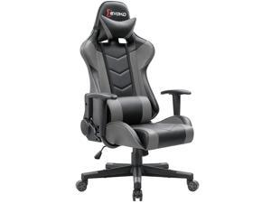 Devoko Ergonomic Gaming Chair Racing Style Adjustable Height High-back PC Computer Chair With Headrest and Lumbar Massage Support Executive Office Chair (Grey)