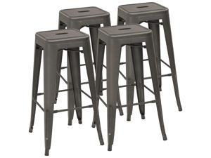 Devoko Metal Bar Stool 30'' Tolix Style Indoor/Outdoor Barstool Modern Industrial Backless Light Weight Bar Stools with Square Seat Set of 4 (Gunmetal)