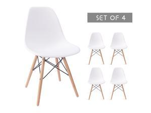 Devoko Modern Style Dining Chairs Mid Century Pre Assembled DSW Chair Classic Shell Lounge Plastic Side Chairs for Dining Room, Kitchen, Living Room Set of 4 (White)