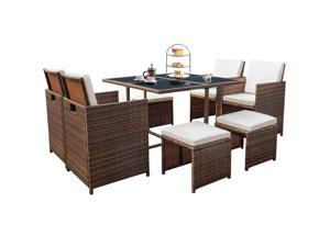 Devoko 9 Pieces Patio Dining Sets Outdoor Space Saving Rattan Chairs with Glass Table Patio Furniture Sets Cushioned Seating and Back Sectional Conversation Set (Brown/Beige)