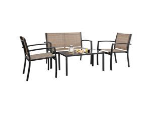 Devoko 4 Pieces Patio Furniture Set Outdoor Garden Patio Conversation Sets Poolside Lawn Chairs with Glass Coffee Table Porch Furniture (Yellow)
