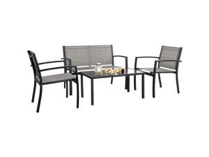 Devoko 4 Pieces Patio Furniture Set Outdoor Garden Patio Conversation Sets Poolside Lawn Chairs with Glass Coffee Table Porch Furniture (Grey)