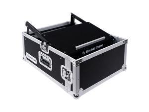 Sound Town 4U PA DJ Rack/Road Case with 11U Slant Mixer Top, 20'' Rackable Depth, 4-Space Size (STMR-4US)