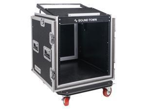 "Sound Town Shock Mount 12U ATA Rack Case with 20"" Rackable Depth, 11U Slant Mixer Top and Casters, 12-Space Size (STMR-SP12UW)"