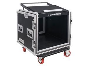"Sound Town Shock Mount 10U ATA Rack Case with 20"" Rackable Depth, 11U Slant Mixer Top and Casters, 10-Space Size (STMR-SP10UW)"