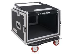 "Sound Town Shock Mount 8U ATA Rack Case with 20"" Rackable Depth, 11U Slant Mixer Top and Casters, 8-Space Size (STMR-SP8UW)"