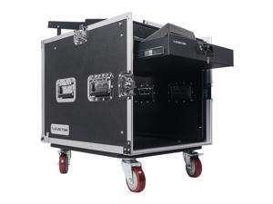 Sound Town 10U PA DJ Pro Audio Rack/Road ATA Case with 13U Slant Mixer Top, Locking Drawer, 23.5'' Rackable Depth and Casters (STMR-10D2)
