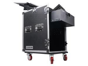 Sound Town 14U PA DJ Pro Audio Rack/Road ATA Case with 11U Slant Mixer Top, Locking Drawer, 20'' Rackable Depth and Casters (STMR-14D3)