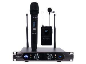Sound Town Metal 40-Channel Rack Mountable UHF Wireless Microphone System with 1 Metal Handheld Mic, 1 Lavalier Mic for Church, Business Meeting, Outdoor Wedding and Karaoke (SWM22-U2HL)