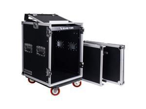 Sound Town 14-Space PA/DJ Rack/Road ATA Server Case with Slant Mixer Top and Standing Lid Table (STMR-14UWT)
