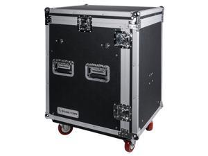Sound Town 14U PA DJ Rack/Road Case with Slant Mixer Top and 2 Standing Lid Tables and Casters, 14-Space Size (STMR-14UWT2)
