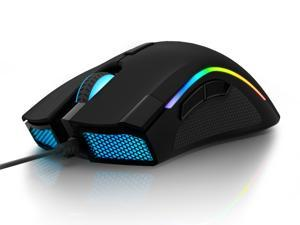 Delux Wired RGB Gaming Mouse with 24000 DPI, 7 Programmable Buttons and Pro Game Software, Ergonomic Optical Gamer Mouse for PC Laptop Computer (M625BU(3360)-Black)