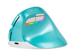 DELUX Rechargeable Ergonomic Mouse, Wireless Vertical Mouse with Bluetooth and Nano Receiver, 6 Buttons and 4 Gear DPI RGB Ergonomic Silent Mice for Laptop PC Computer (M618mini-Mint-Green)