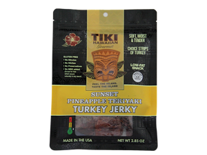 Tiki Hawaiian Gourmet Jerky - Delicious Turkey Jerky (Sunset Pineapple Teriyaki Flavor)
