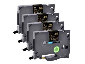 "4 PK Gold on Black TZ334 TZe-334 TZe334 TZ- for Brother Label Tape P-Touch 1/2"""