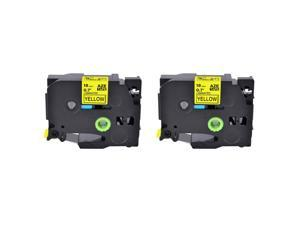 2PK TZ TZe 641 Black on Yellow 18MM For Brother Label Tape P-touch PT1880C
