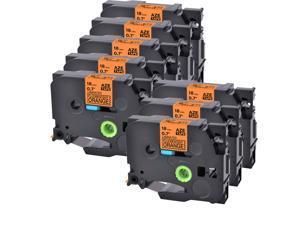"8 PK Black on Fluo Orange TZB41 TZ TZe-B41 For Brother Label Tape 3/4 x 26"" 18mm"