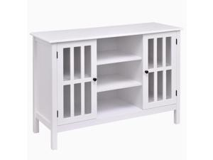 """Wood TV Stand Storage Console Free Standing Cabinet Holds Up To A 45"""" TV White"""