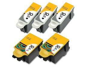 5 Pack For Kodak 30XL Black & Color Ink Cartridges 1341080 1550532 30 XL