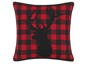 """Eddie Bauer   Cabin Plaid Collection   Soft Cotton Blend Classic Stag Head Silhouette Design Decorative Throw Pillow/Sham, Easy Care Machine Washable, 20"""" x 20"""", Red"""