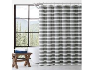 """Eddie Bauer Home   Stones Throw Collection   100% Cotton Striped Shower Curtain, Classic and Stylish Bathroom Décor, Machine Washable for Easy Care, 72"""" x 72"""", Charcoal"""