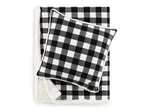 """Eddie Bauer   Cabin Plaid Collection   100% Cotton Flannel to Sherpa Reversible Blanket/Throw with Matching Pillow, Cozy & Classic Giftable 2-Piece Set, 50"""" x 60"""" / 20"""" x 20"""", Black"""