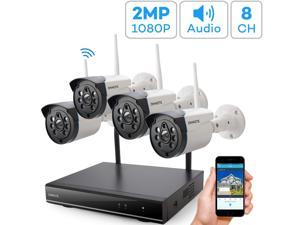 Expandable 8CH, Audio ONWOTE 1080P Wireless WiFi Security Camera System Outdoor, 8 Channel NVR, (4) 1080P 2.0MP IP Security Surveillance Cameras for Home, One-Way Audio, 80ft IR, No Hard Drive