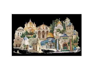 Thea Gouverneur - Counted Cross Stitch Kit - Embroidery Kit - 533.05 - Pre-Sorted DMC Threads - Jerusalem Israel - Aida Black - 31.1 x 19.7inch - DIY Kit