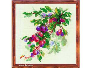 """RIOLIS 1616 - Branch of Plum - Counted Cross Stitch Kit 12"""" x 12"""" 10 Count Beige AIDA 24 Colors"""