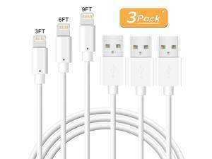 Novtech iPhone Charger Cable - 3Pack 3FT 6FT 9FT Lightning Cable - MFi Fast Charger Cable for iPhone 11 Pro XR Xs Max X 8 Plus 7 Plus 6S Plus 6 Plus 5S 5C 5 SE iPod iPad Air Pro - White