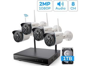 Expandable 8CH, Audio ONWOTE 1080P Wireless WiFi Security Camera System with 1TB Hard Drive, 8 Channel NVR, (4) Outdoor 1080P 2.0MP IP Security Surveillance Cameras for Home, One-Way Audio