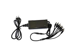 Henxlco DC 12V 5A Power Supply Adapter with 8 Split Power Cable for Security Camera CCTV DVR Surveillance System
