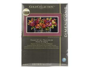 Dimensions Flowers of Joy Counted Cross Stitch Kit Gold Collection, 14 Count Black Aida Cloth, 18 x 9