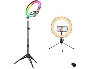 """10"""" Ring Light with Stand, Fauna 10 Colors RGB LED Ring Light with Two Tripod Stand and Phone Holder & 10 Brightness Level & Camera Remote Shutter for Makeup,YouTube,Video,Photography"""