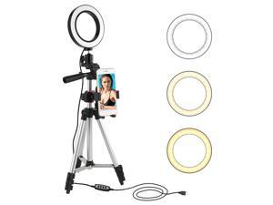 """LED Ring Light with Tripod Stand Selfie Stick, 5.7"""" Dimmable Mini Camera Light with 360° Rotation Cell Phone Holder Table Lamp with 3 Light Modes & 11 Brightness Level for YouTube Video and Makeup"""
