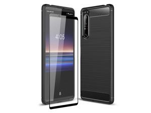 Olixar for Sony Xperia 1 II Case with Screen Protector - 360 Full Body Coverage Hard PC - Dual Layer Rugged Heavy Duty Cover - Shockproof Tempered Glass - Sentinel - Black