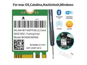 M.2 NGFF WiFi Network adapter card Broadcom BCM94360NG Wireless Card 1200M BT4.0