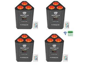 4   RockWedge LED RGBWA+UV Rechargeable Wireless DMX DJ Par Up-Lights