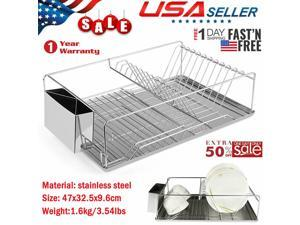 Kitchen Dish Drying Rack Stainless Steel Storage w/ Chopstick Holder Rrustless