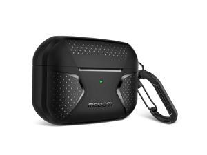 MOBOSI Net Series Silicone Airpods Pro Case Cover for AirPods Pro, Full-Body Rugged Shock Absorbing Protective Carabiner Compatible with Airpod Pro Wireless Charging, Black [Front LED Visible]