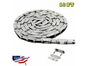 #C2040H-SS Stainless Steel Roller Chain 10 FT Heavy Duty With 1 Connecting Link