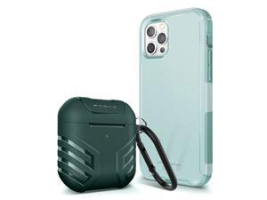 MOBOSI Case Compatible with iPhone 12 Pro Max 6.7 inch (2020 Release) Excursion Series + Vanguard Armor AirPods Case Cover Compatible with AirPods 2 & 1- Green