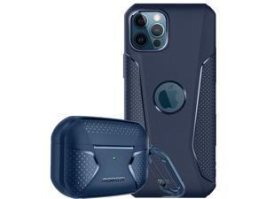 [Bundle] MOBOSI Net Series Airpods Pro Case Cover & Net Series Compatible with iPhone 12 Pro Max Case 6.7 Inch (Navy Blue)