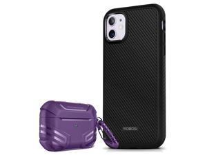 MOBOSI Accessory Bundle - Vanguard Armor Series AirPods Pro Case (Purple) with Fline Series iPhone 11 Case (6.1 Inch)