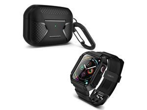 MOBOSI Swisper Series Compatible with Apple Watch Band 44mm Series 6/5/4/SE(Black) + MOBOSI Net Series AirPods Pro Case Cover Designed for AirPods Pro 3nd Gen(Black)
