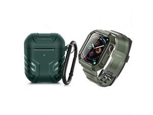 MOBOSI Swisper Series Compatible with Apple Watch Band 44mm Series 6/5/4/SE(Green) + MOBOSI Vanguard Armor AirPods Case Cover Designed for AirPods 2 & 1(Green)