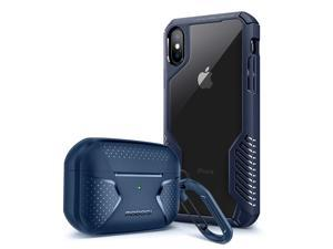 [Bundle] MOBOSI Vanguard Armor Compatible with iPhone Xs Max Case & Net Series Airpods Pro Case Cover (Blue)