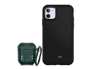 MOBOSI Accessory Bundle - Vanguard Armor Series AirPods 2 & 1 Case (Midnight Green) with Fline Series iPhone 11 Case (6.1 Inch)
