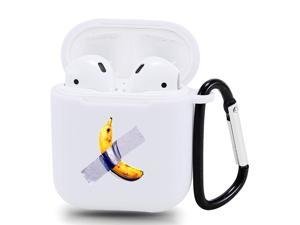 Jusy Banana Case for Airpod 1&2 Case Silicone Skin Protective Airpod Cover with Carabiner Style Keychain Clip Compatible with Airpods Charging Case Best Gift for Teens(White)